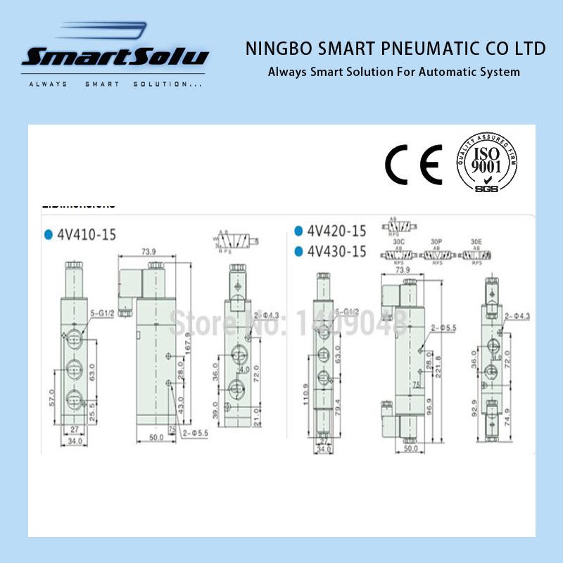 ᐅFree Shipping 1/2\'\' AC220V 1.5 ~ 8kgf/cm2 4V430C-15 3 Position 5 ...