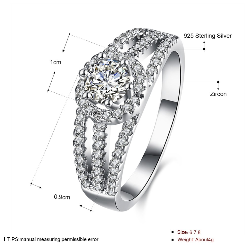 925 Sterling Silver Engagement Ring With Zircon Fashion Jewelry