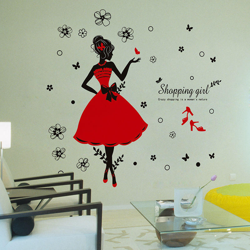 Fashion Removable Girl Butterfly Quote Mural Wall Stickers Home