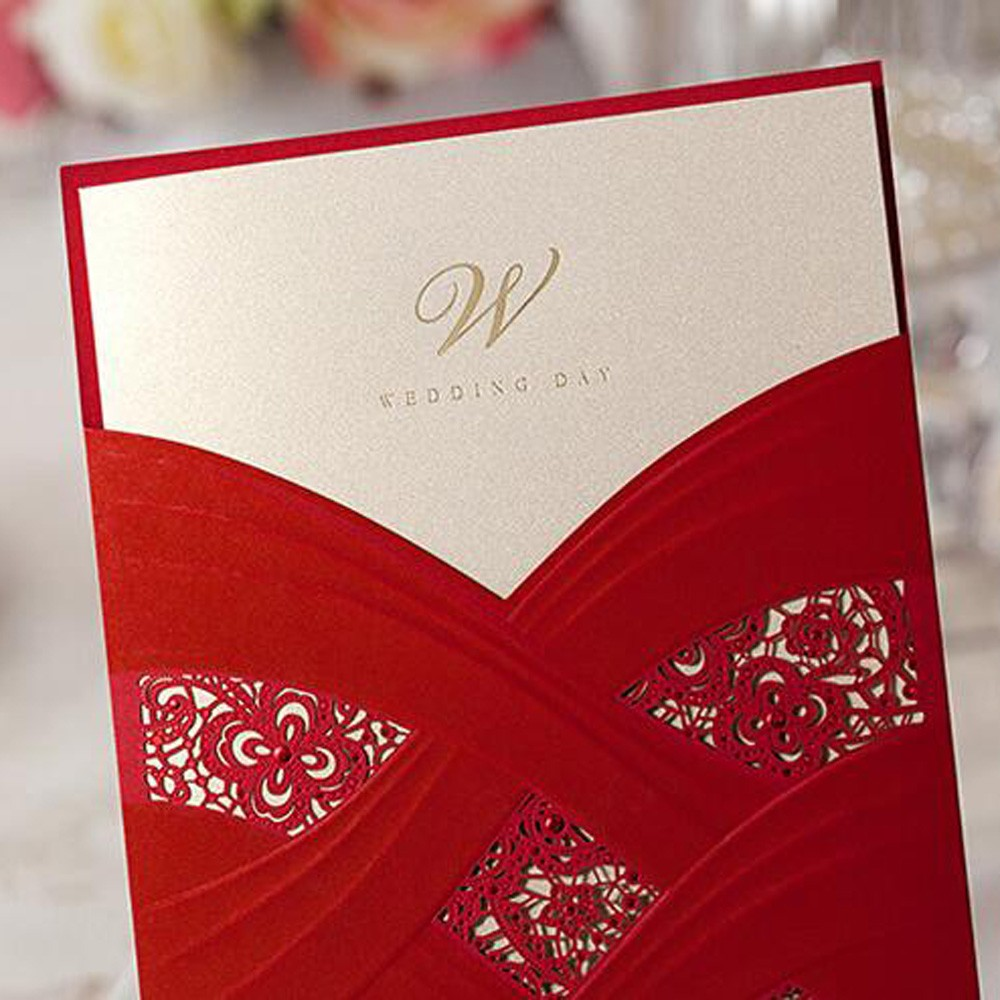 ᗕ1pcs Sample Elegant Laser Cut Personalized Wedding Invitations ...