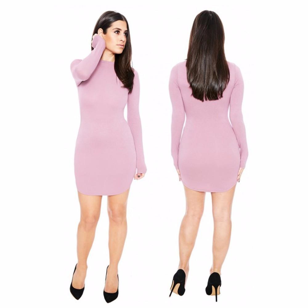 ộ_ộ ༽Fd6504 mujeres invierno de manga larga mini vestido vestidos ...