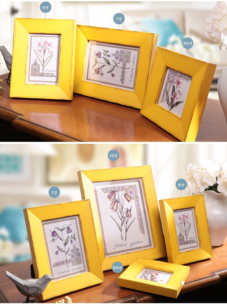 ᐂVintage Style Solid Wood Photo Frame Home Desktop Wall Decoration ...