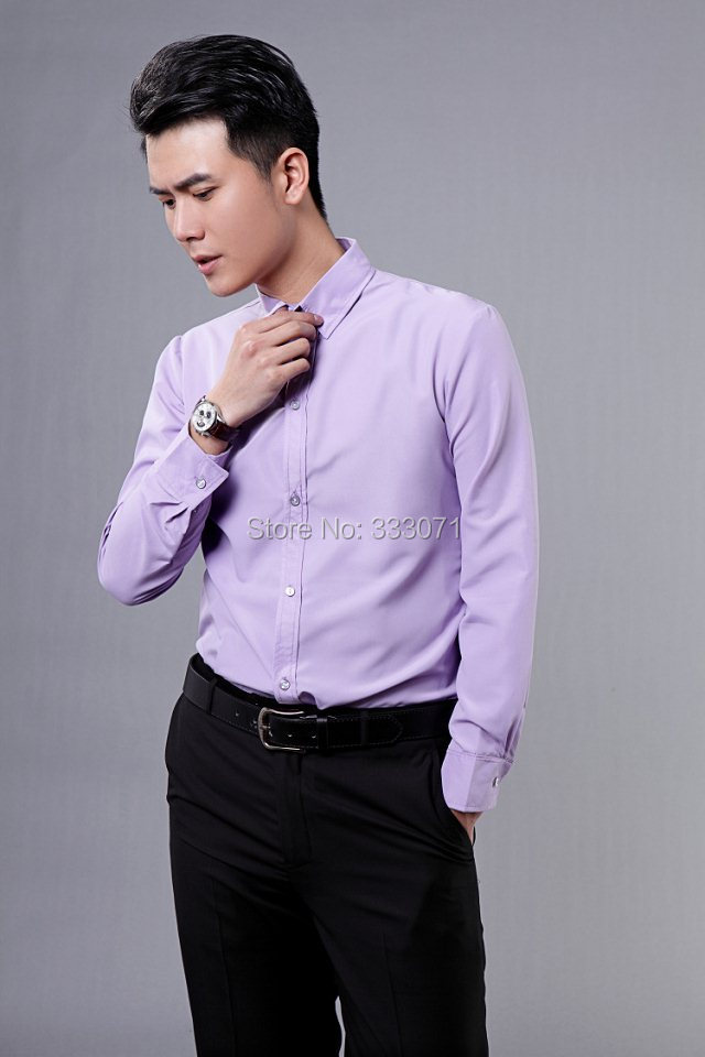 2016 New lilacs Long-sleeved Men Shirt Wedding/Prom Groom Shirts ...