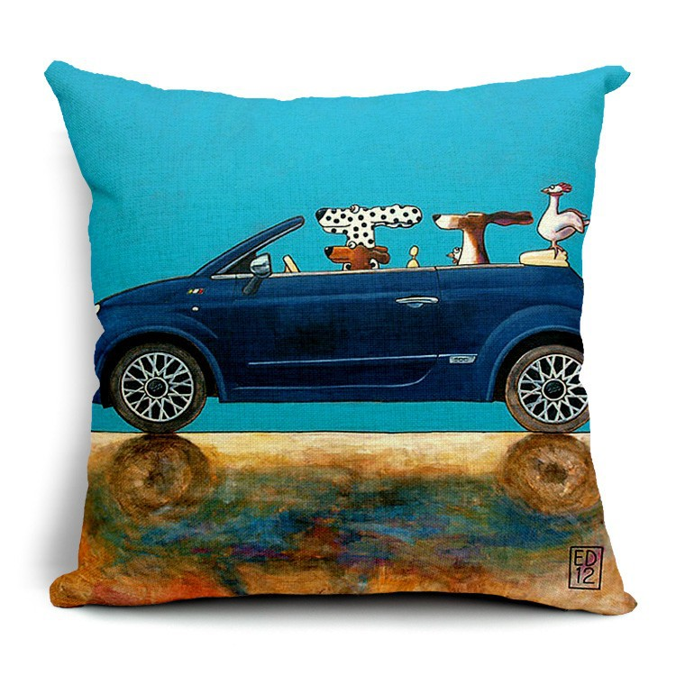 sofa replacement cushion covers noguchi review hot sale pillow lovely cartoon dog driving car almofadas ...