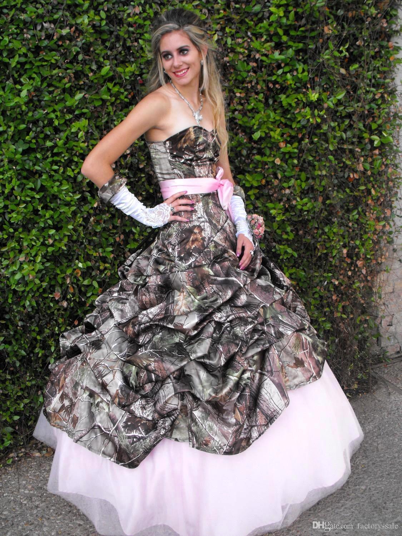 Printing Pink Camo Wedding Dresses 2015 New Styles