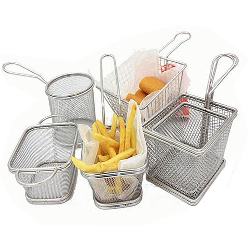 ①Stainless Steel Chips Basket Chrome Chip Fryer Basket Serving ...