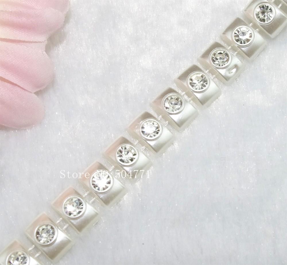 ჱ13mm cuadrado perla de marfil con rhinestone cadena Costura traje ...