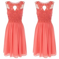 Hot Sale Chiffon Short Coral Bridesmaid Dresses 2015 Knee ...