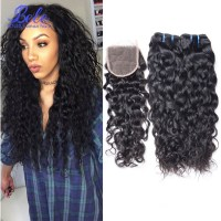 Wet And Wavy Human Hair Closure  Best Clip In Hair Extensions