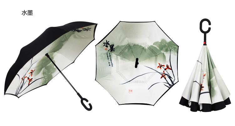 Double Sunscreen UV Resistant Umbrella RXY-UMBRELLA C Type Hands-Free Straight Rod Automatic Reverse Car Umbrella Color : C