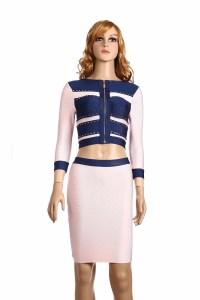 2015 Women Two Piece Dress Casual Three Quarter Blue ...