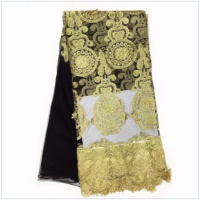 ღ ღPolyester swiss golden embroidered lace fabric for nigerian ... 2cc76b53e