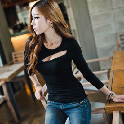 recorte de corte baixo top feminino da longo-luva t-shirt sexy slim camisa  básica das mulheres 2172EUA  16.90 ... 72525f644873