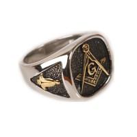 Cool Mens Silver Gold Free Mason Freemasonry Masonic Ring ...
