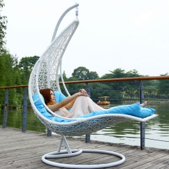 Patio Rocker Chair Hanging Wicker Chairs With Stand Outdoor Swing Rattan Basket Leisure Moon Boat Hammock Cradle ...