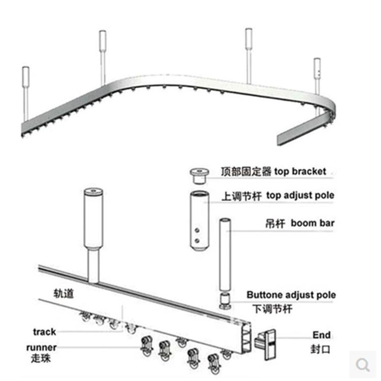 Curtain Bendable Rail System Hospital Separate Beauty