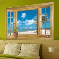 New 3D Window Scenery Beautiful Sea Beach View wall ...