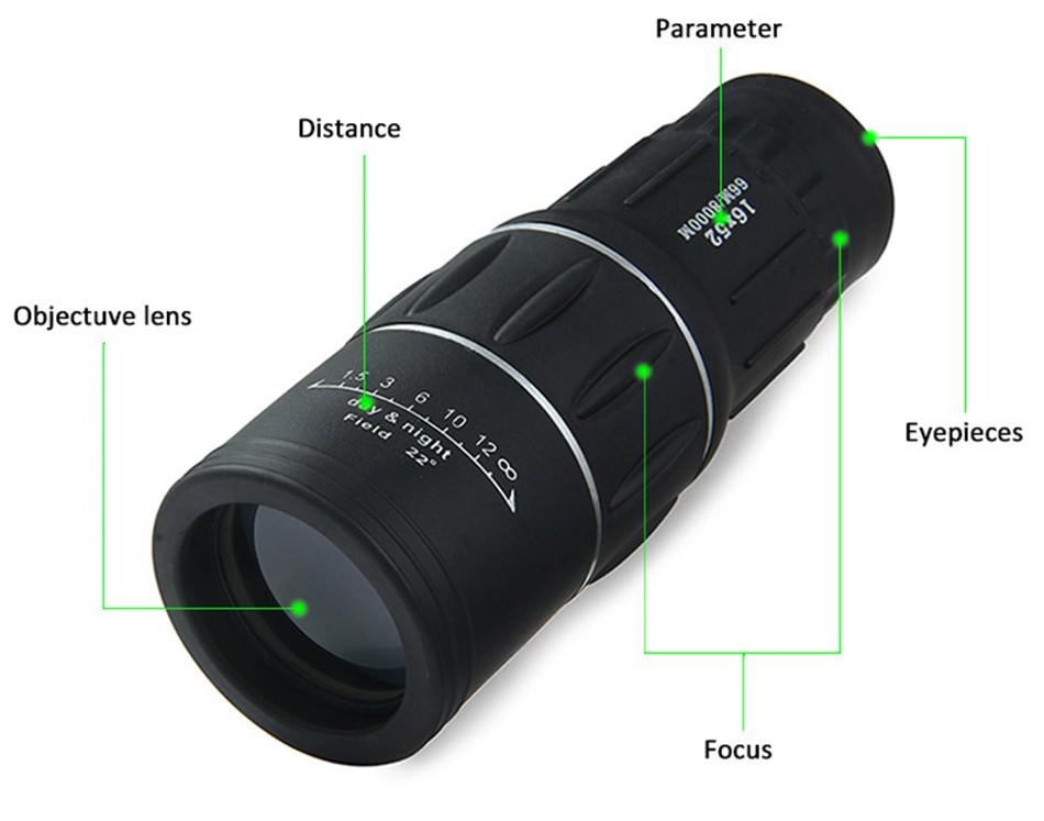 Avcılık optik monoküler Çift odak yakınlaştırma optik lens