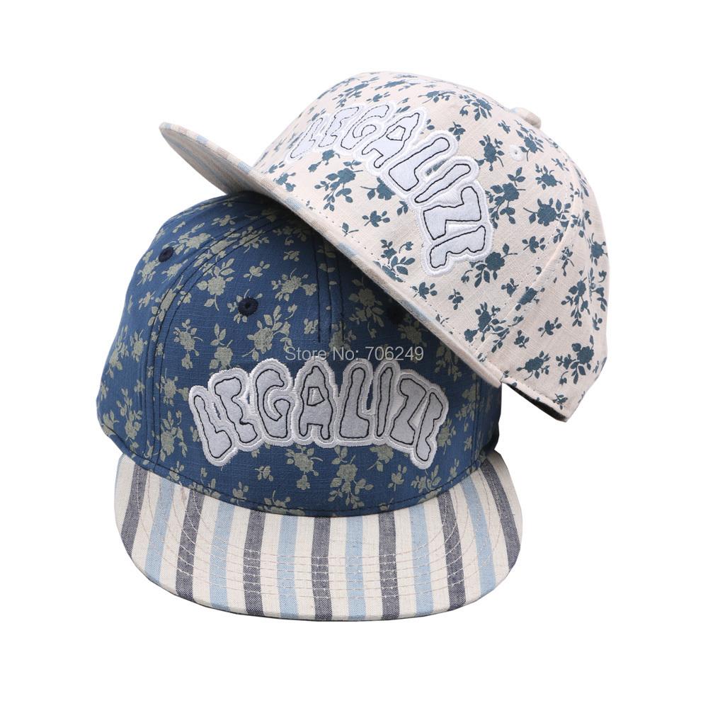 ⑦2016 moda algodón Lino calidad hiphop flor y la raya Gorras de ...