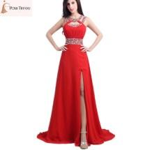 Backless Halter Gown Slit Red Long Dress
