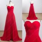 Red Chiffon Evening Dress Sweetheart Simple Design Cheap