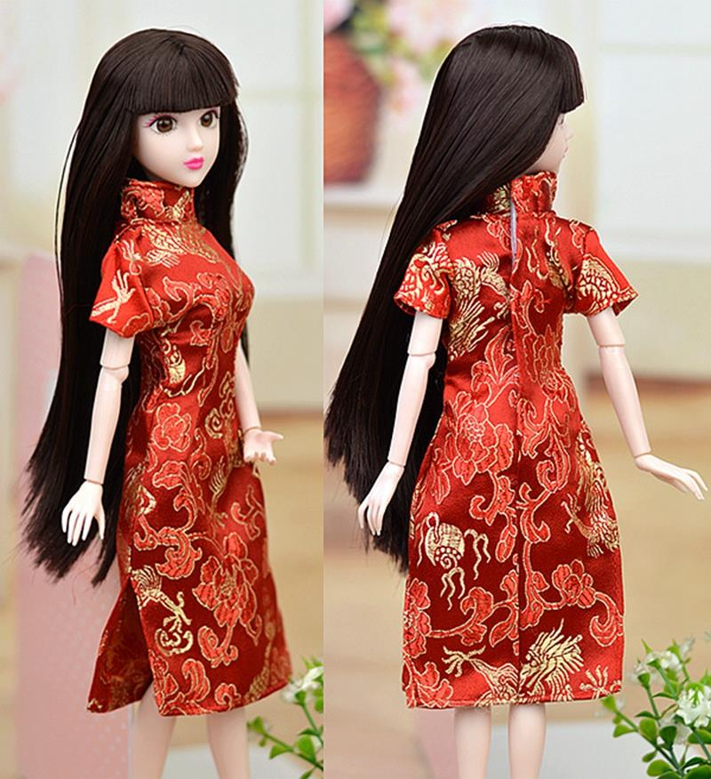 ... Barbie Doll Clothes Cheongsam Chinese Traditional Dress Vestido Qipao  Evening Dresses. Costume only 191a036fde41
