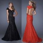 Black Open Back Mermaid Prom Dresses