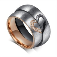 Lovers Matching Heart 316L Stainless Steel Wedding Rings ...