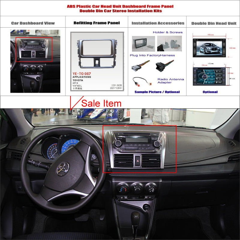 ABS Plastic Installation Frame Panel For Car Radio Stereo DVD GPS Double  Din System. For Toyota Yaris ...