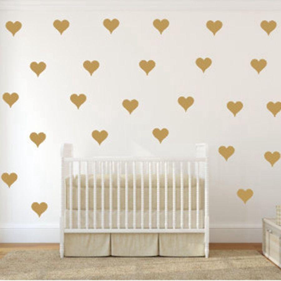 Free shipping Metallic Gold Wall Stickers Heart shaped