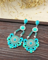 Bohemian colored resin leather rhinestone flower shaped
