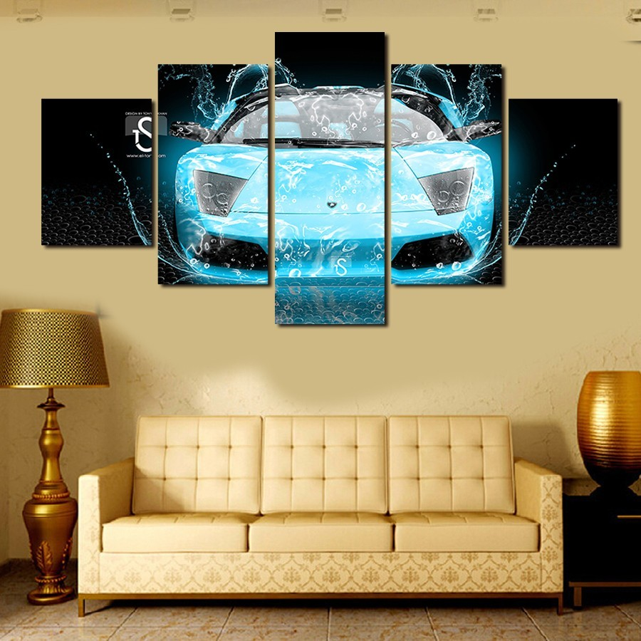 ᗕAbstract automobile painting painting wall decorative canvas print ...