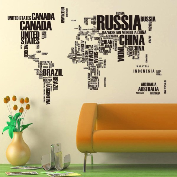 Large Size Letters World Map Removable Vinyl Decal Art