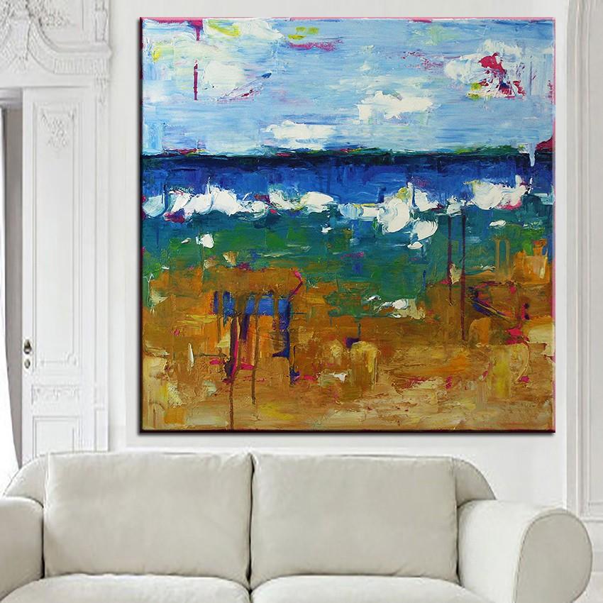 ツ)_/¯Impresión de gran tamaño pintura al óleo paisaje marino ...