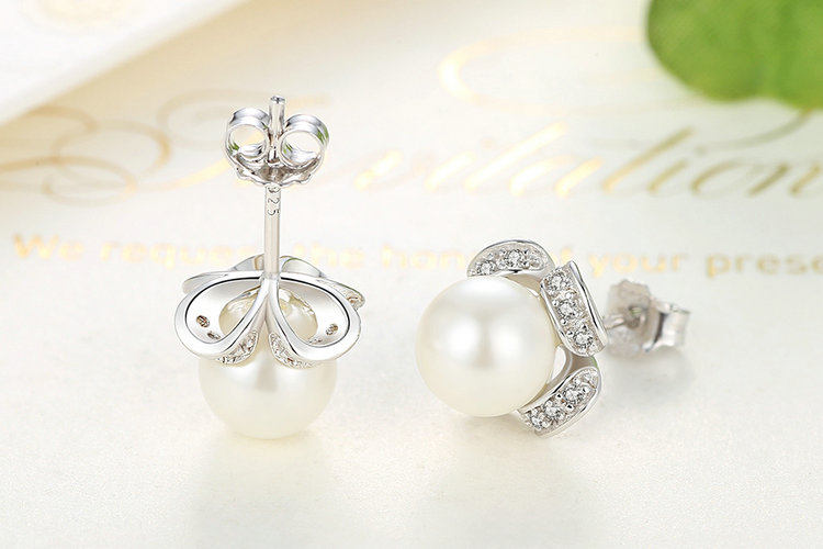 ᗛWOSTU Hot Sale 925 Sterling Silver White Pearl Stud Earrings With ... 6222bb74a