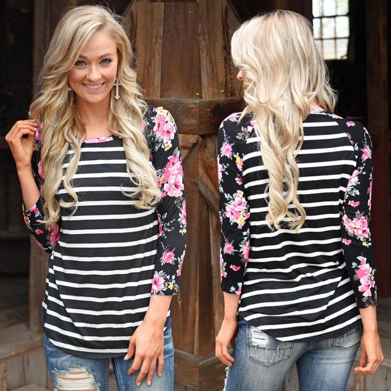 New 2017 Autumn Summer Tops Women Patchwork Long Sleeve Sexy Casual T-shirt  Striped Print Slim T-shirt Flowers printing Vestidos ef9a6647bbf7