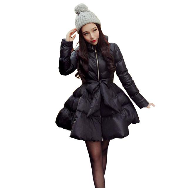 Новое поступление с бантом талии пышная юбка теплое пальто парки для женщин зимой женщины вниз и парки 2016 длиной куртки женские зимняя куртка женская пальто пальто женское куртка женская пиджак женский шубы