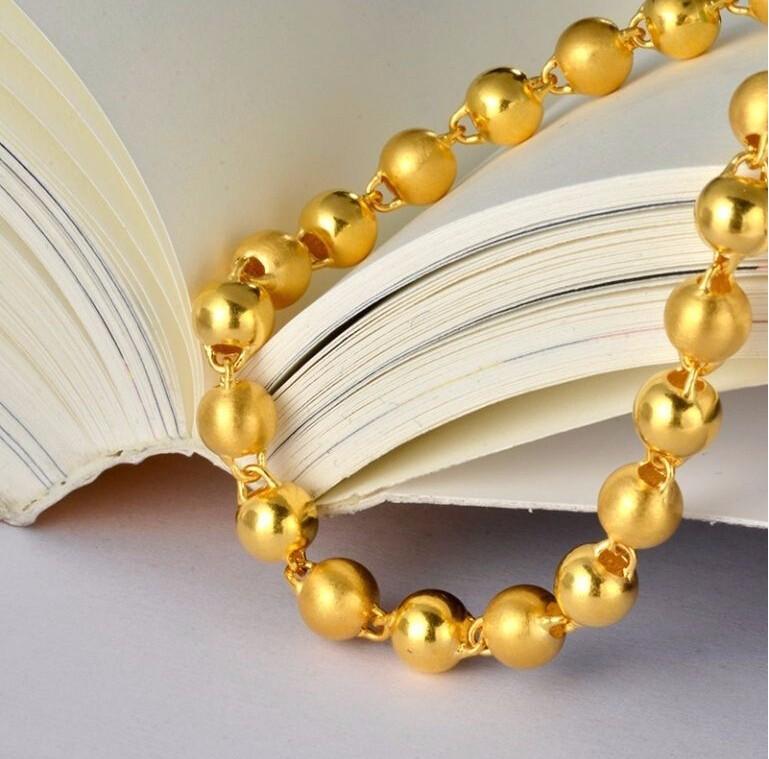 2fb97f9605cd ღ ღAuténtico 999 sólidos 24 K oro amarillo pulsera grande Cuentas ...