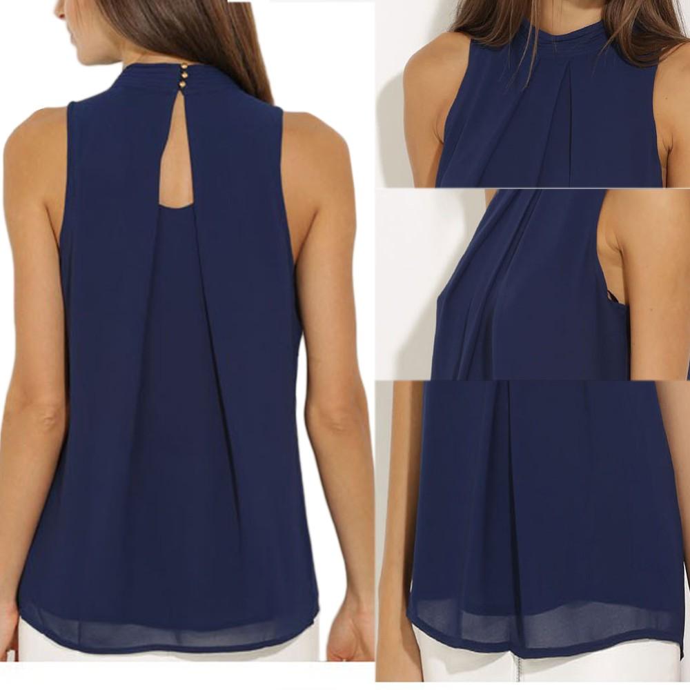 Women Tops Casual Chiffon Blouse Chic Elegant Lady Sleeveless Shirts Tops 62e500f6b