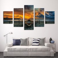 5 Panels Canvas Print Buddha Painting On Canvas Wall Art