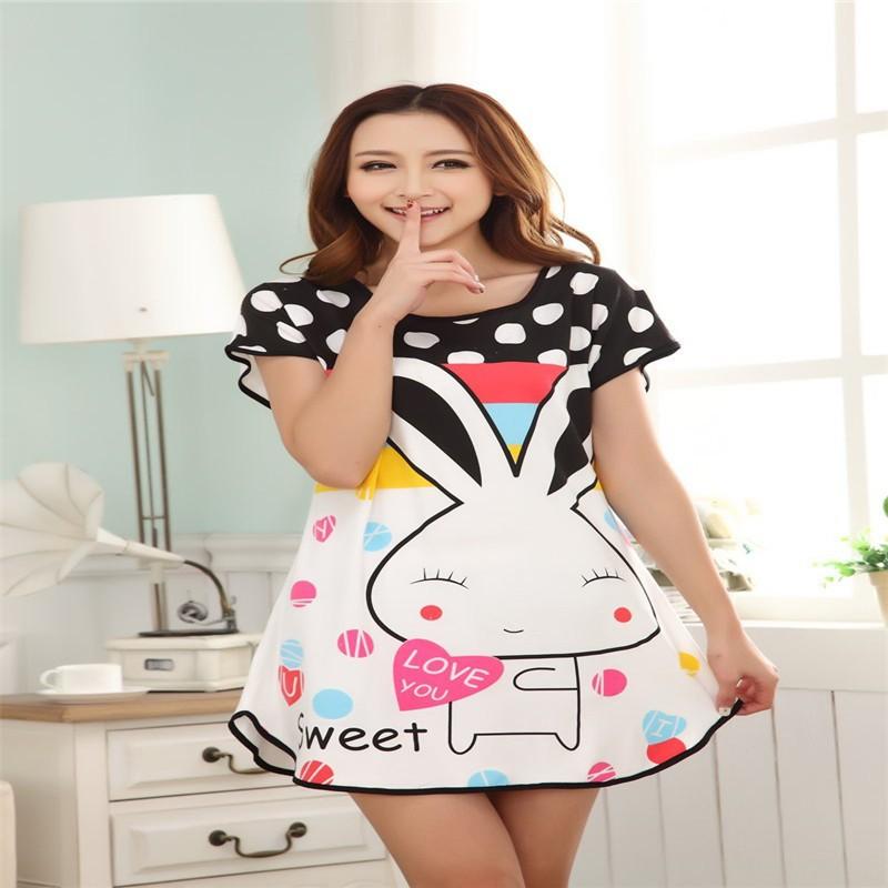 ✅Милые Для женщин Повседневное мультфильм Ночная рубашка  одежда ... 7fe4c416a52b2