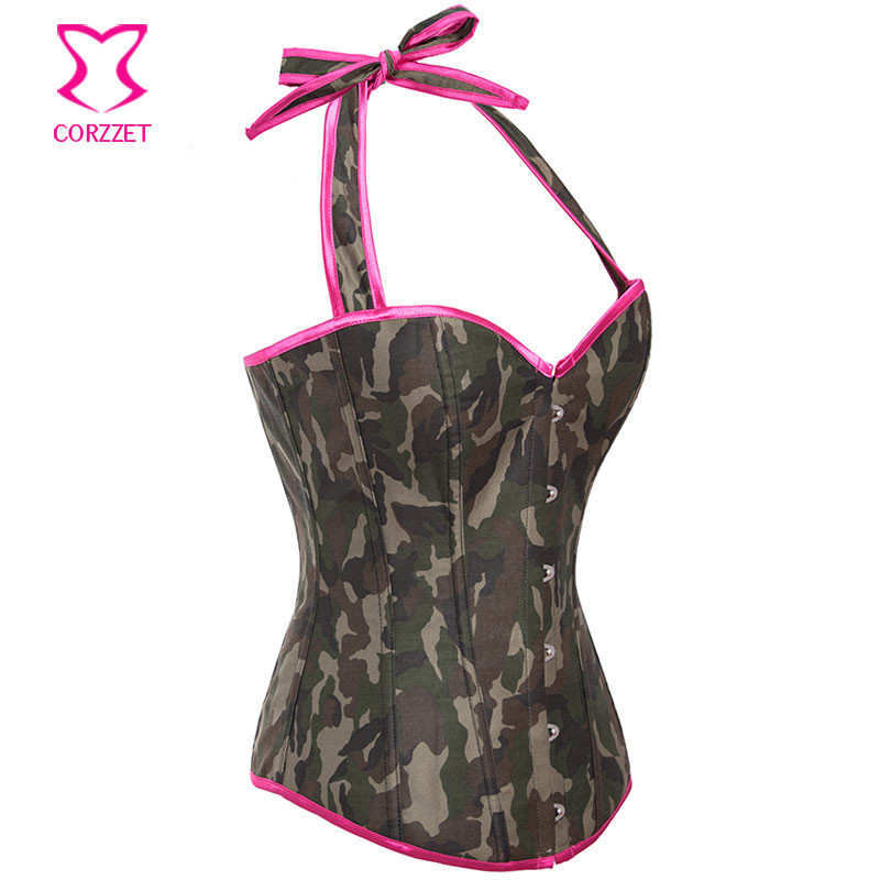 69abaa392 ᗜ LjഃCamuflagem Denim Top Corset Corpetes E Espartilhos Gothique ...