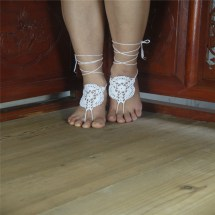 White Crochet Barefoot Sandals Nude Shoes Bridesmaid