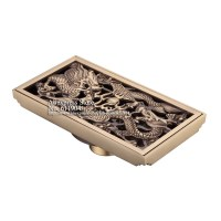 Antique Brass Luxury Rectangle Bathroom Shower Drain Floor ...