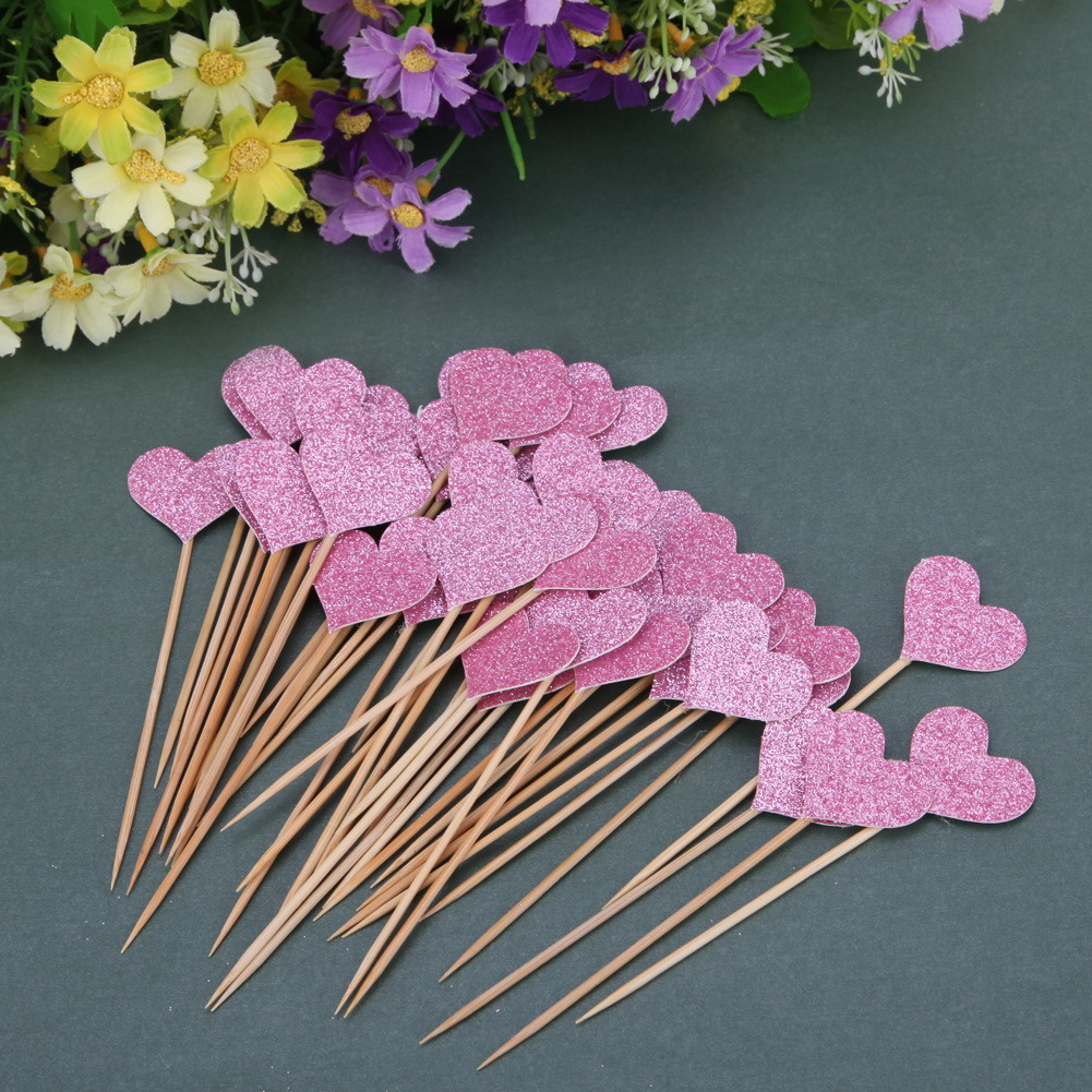 ⊱40pcs/bag 4 Colors love cupcake topper birthday topper baby shower ...