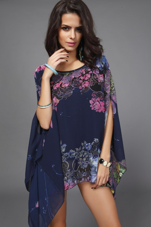 Blouses & Shirts 2015 Chiffon Blusas Bat Sleeve Women