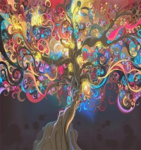 abstract tree oil canvas printing 3d wall murals wallpaper ...