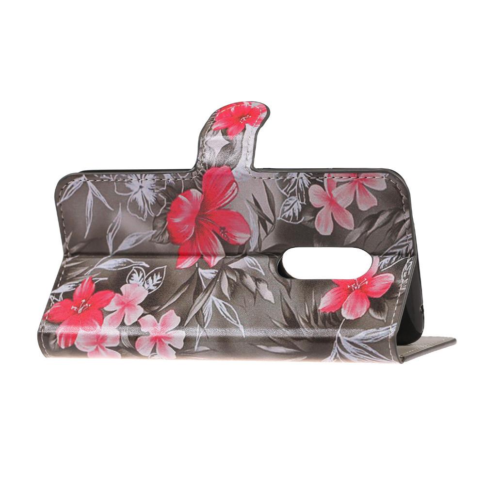 a0215f85f775 ⑦Красный цветок PU кожаный бумажник сумки забронировать стенд чехол ...