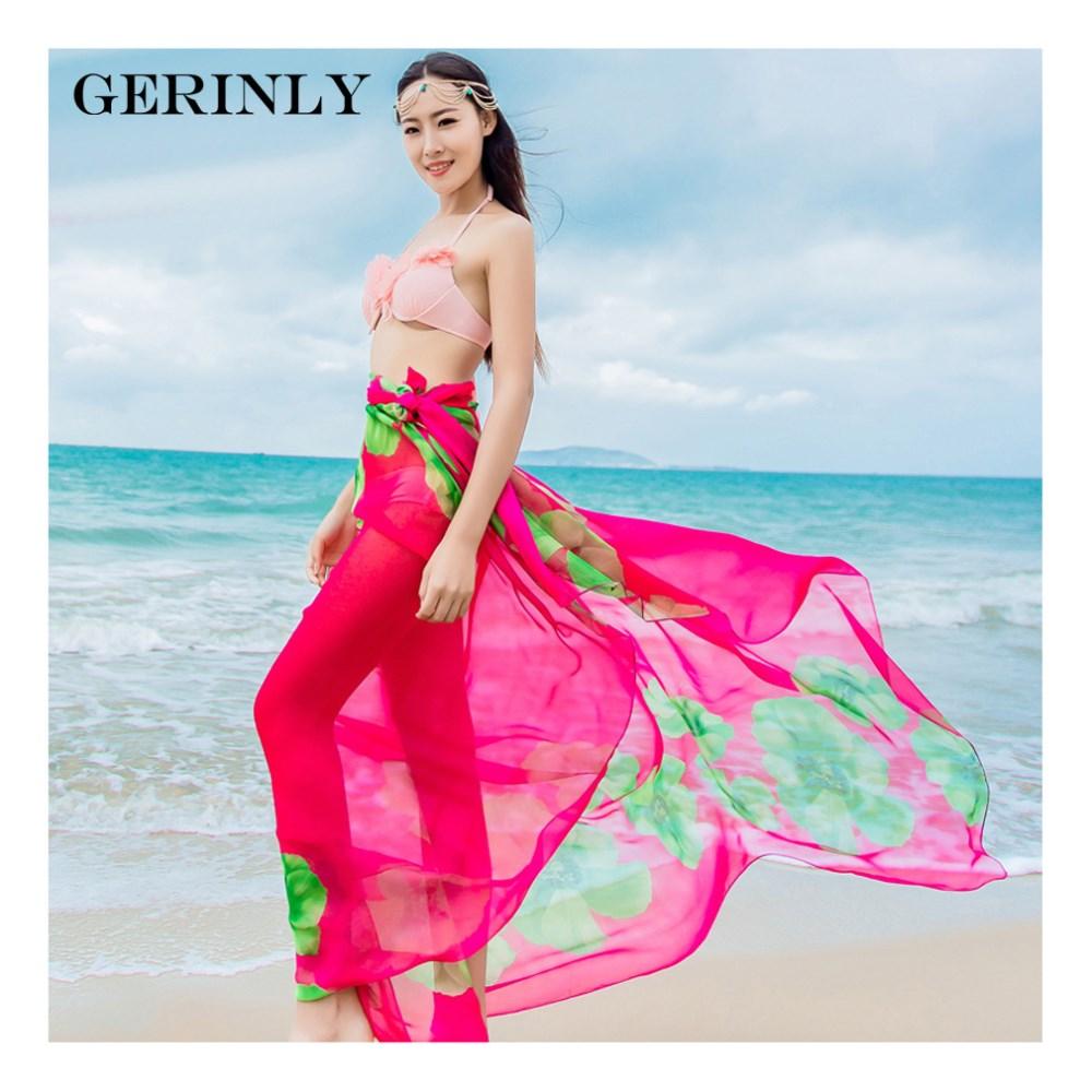 bc6891813c0 GERINLY Sarong Beach Pareo Hibiscus Print Chiffon Scarf Hawaiian ...