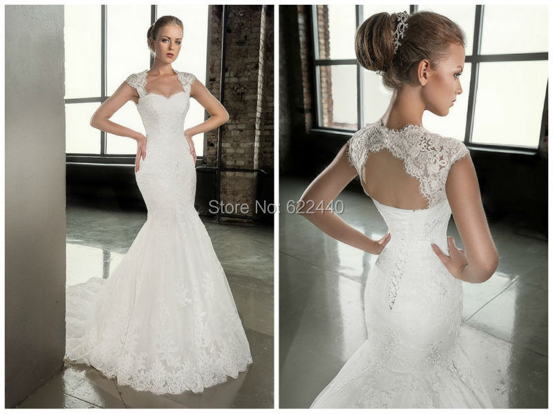 Applique Mermaid Wedding Dresses With Detachable Jacket